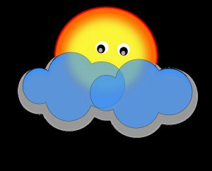 Sol bakom moln